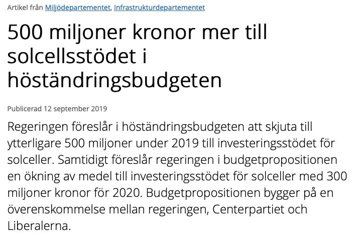 Regeringen: 500 miljoner kronor mer till solcellsstödet i höständringsbudgeten