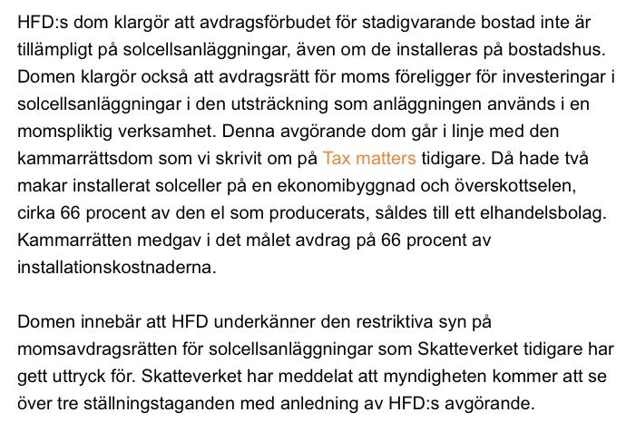 Högsta förvaltningsdomstolen (HFD) medger momsavdrag för solcellsanläggning